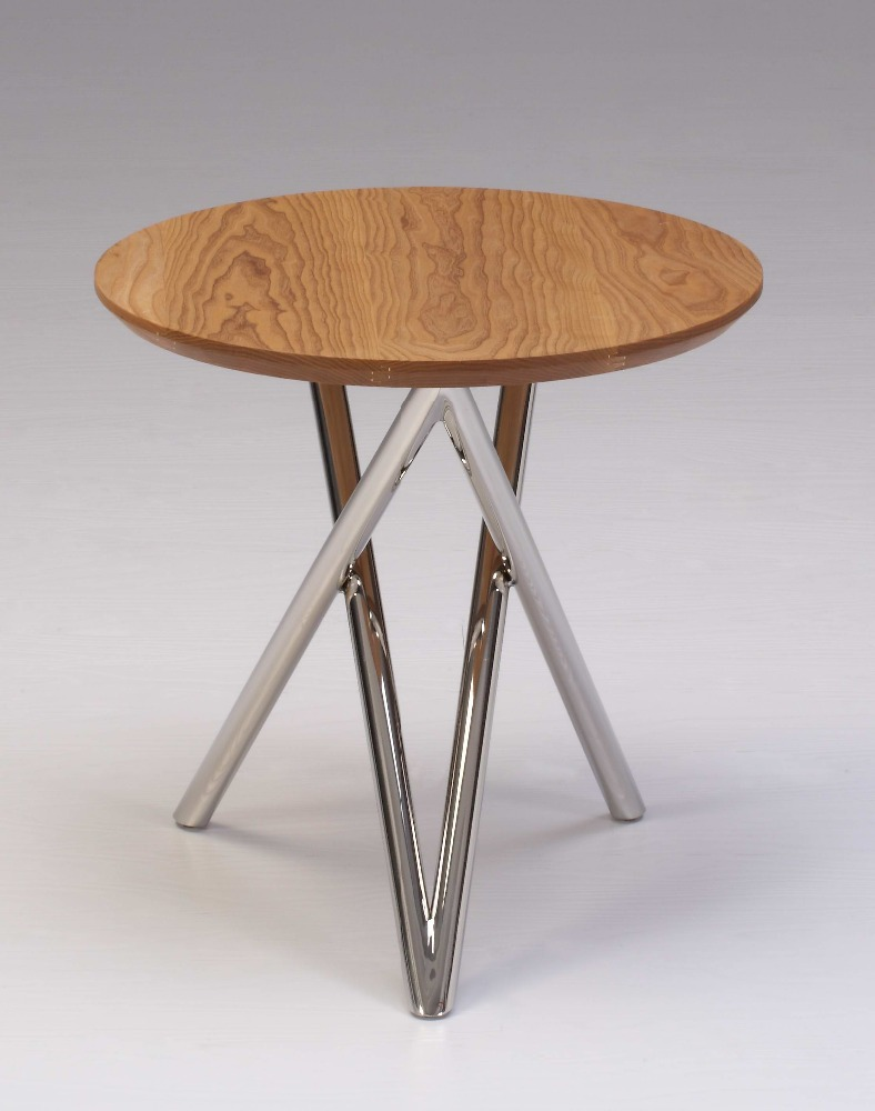 Artistic designing ash wood round end table with double V shape polished stainless steel bottom