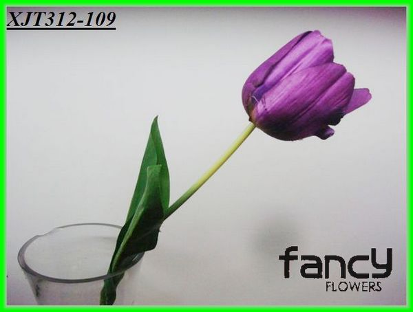 single stem artificial purple tulip