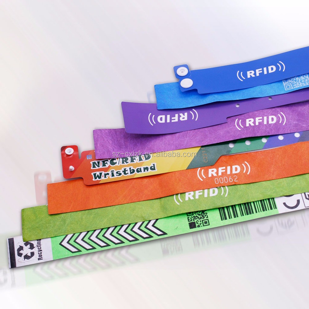 UHF disposable long range rfid bracelet made by PVC or paper with different shape&size for option can make different color