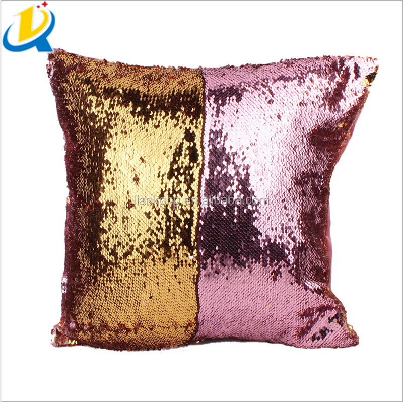 Cheap price fancy custom pillow cases wholesale sequin pillow cover cushion