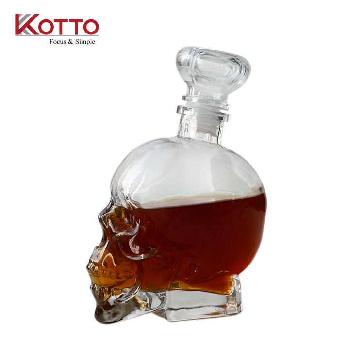 750ml Clear Skull Shot Glass Bottle Creative Vodka Wine Flask Container for Home Bar