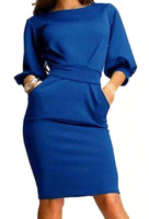 Dresses fashion women girl clothes Half Sleeve Careers With Belt Slim Blues Colbalt Dress