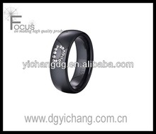New Style Zircon Inlay Letter D Black Ceramic Ring