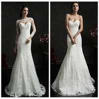 boat neck long sleeve removable lace coverlet a-line wedding dress