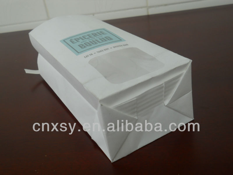 white kraft coffee food packaging paper bag with window