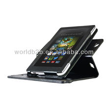 360 Rotary Stand Leather Case for New Kindle Fire HD 7 inch, with touch pen