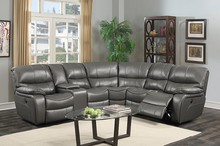 Large Classic and Traditional Bonded Leather Reclining Corner Sectional Sofa for Big Families