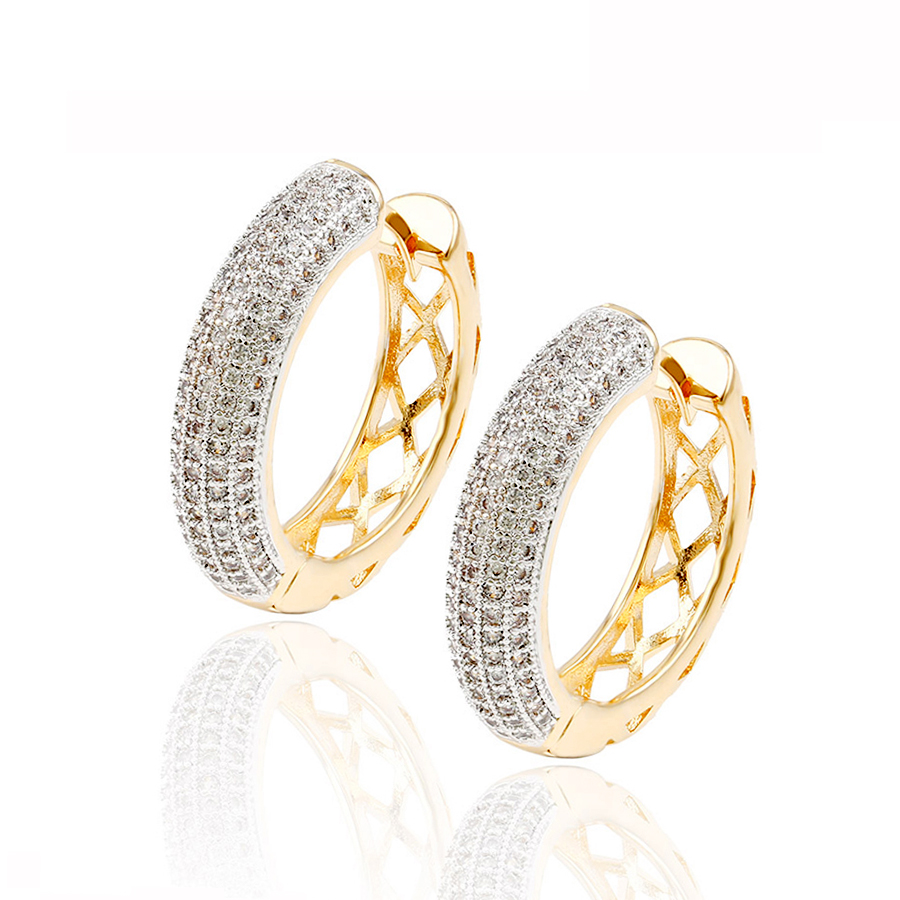 92214 Hot Sale Wholesale fashion 18K gold plated Cubic Zirconia Earring, Elegant Multicolor luxury pave mirco stone Hoop Earring