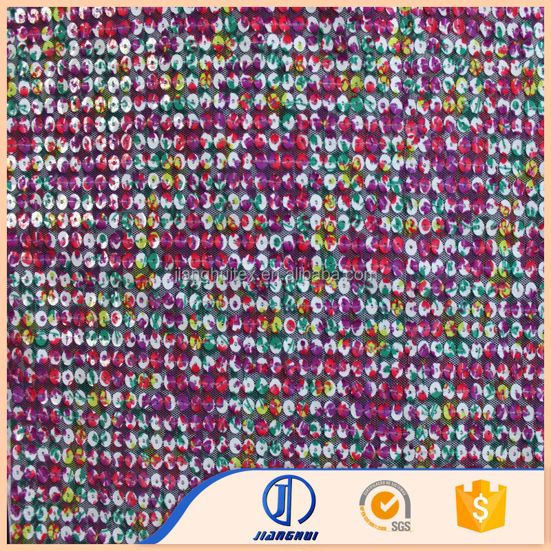 Good price fancy design polyester knitted printed embroidery sequin mesh fabric for dress