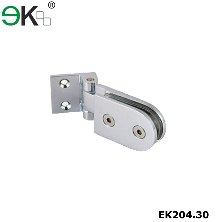 Brass Offset Back Plate Wall Mount Glass Door Hinge