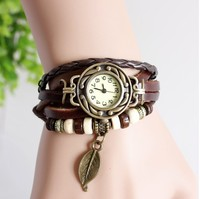 relogio feminino Original High Quality Women Genuine Leather Vintage Watches Bracelet Wristwatches Leaves Pendant Dress Watches