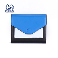 Button fold genuine leather, high quality, woman's wallet