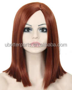 "14"" Female Short Straight Red Bob Wig African American Wig For Black Women Synthetic Fake Hair Cosplay Wig"