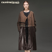 20PCS MOQ Small Order Wholesale Top Quality Retro Patchwork Winter Ladies Shearling Coat