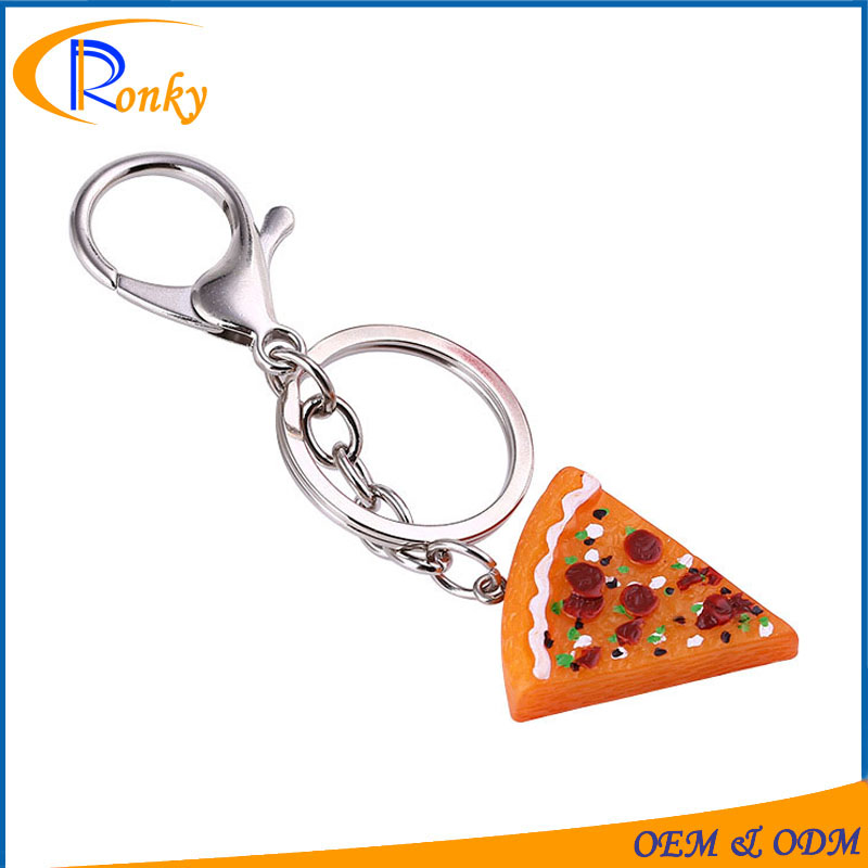 China suppliers advertising gift keychain simulated food pizza custom key chain