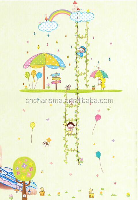 Children wonderland growth chart height measure kids wall sticker