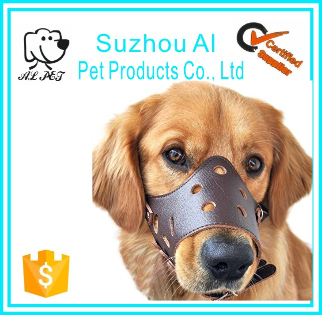Wholesale Pet Supply Durable Adjustable Anti Bitting Leather Dog Muzzle