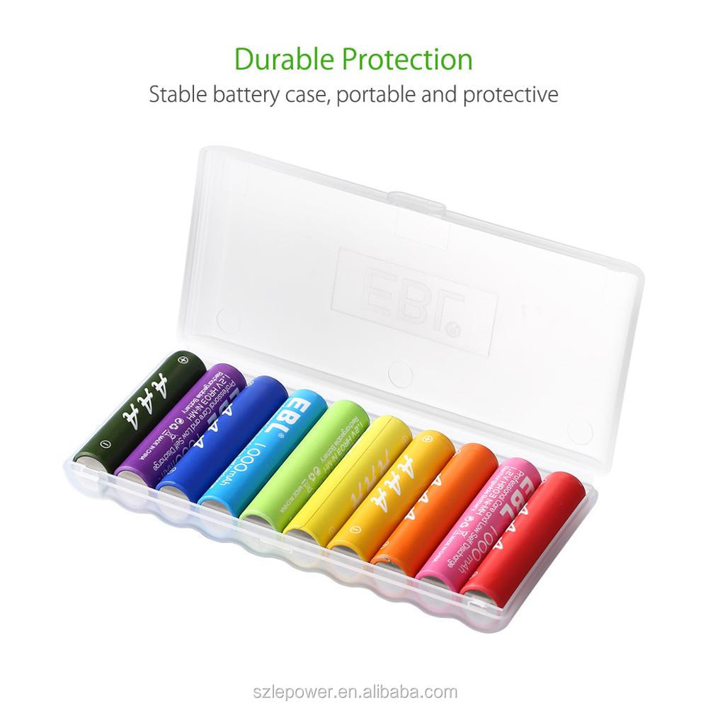 EBL Rainbow Rechargeable Ni-Mh AAA Batteries 1000mAh 10 Pack Eco-Friendly