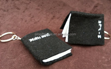 Hot sale wholesale alibaba book shape key chain fashion polyester handmade craft felt mini bible keychain from waste material
