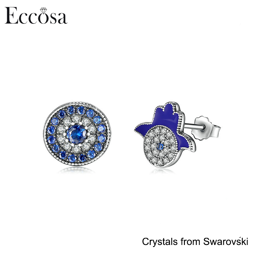 Authentic 925 Sterling Silver Blue Crystals God's Hand Stud Earrings evil eye charm for women Crystals From Swarovski