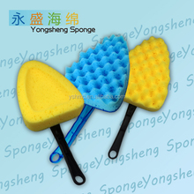 Wave surface triangle shaped car washing sponge with handle