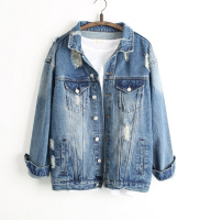 3646 D.Y Fashion Europea fashion sexy ladies ripped denim jacket