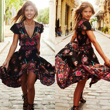Wholesale Vestidos Ropa Mujer 2017 The Latest Fashion Ladies Floral Print Vintage Retro Sexy V Neck Irregular Summer Beach Dress