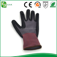 Industrial leather hand gloves cotton lined rubber gloves pvc dotted cotton gloves