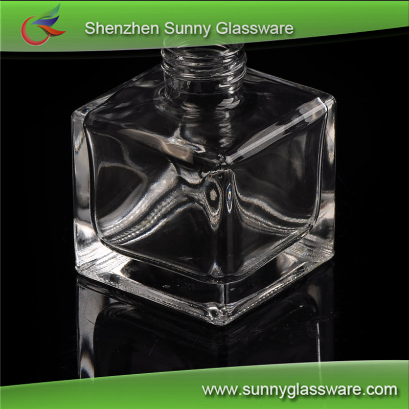 Square Cheap Crystal Clear Perfume Bottle, Glass Prefume Bottle
