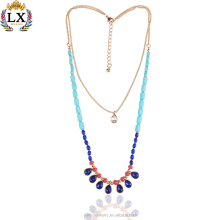 NLX-00024 wholesale layered mexican gold jewelry acrylic beads crystal glass thin gold chain necklace designs
