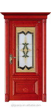 Glass finished surface Chinese internal solid wood door with PVC skin