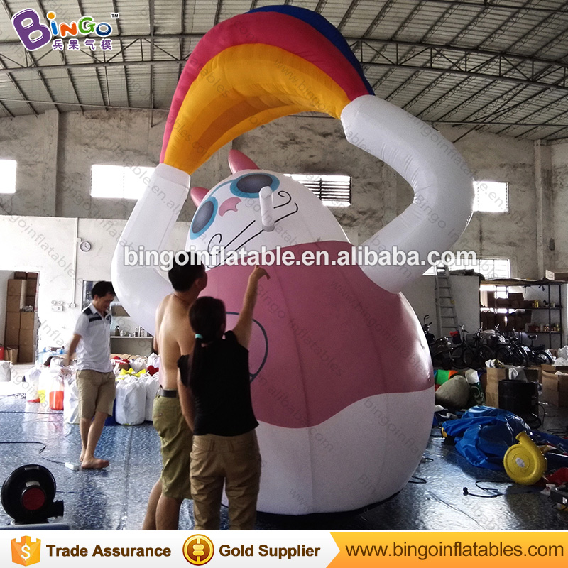 Advertising inflatable lucky cat cartoon with Rainbow for display