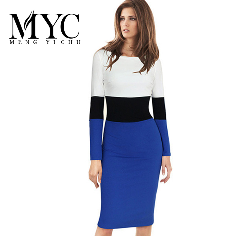 Spring Latest Women Casual Dresses Striped Patchwork Female Pencil Dress Long Sleeve Women Bodycon Dress Vetement Femme