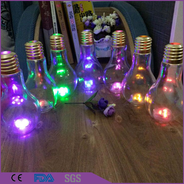 China Factory Wholesale Drinking Clear Custom 500ml Glass Led Light Bulb Bottle