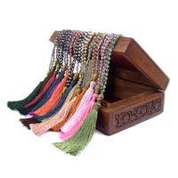 Bohemian Boho Jewelry Necklace,Long Handmade Seed Beads Tassel Gold Buddha Pendant Necklace