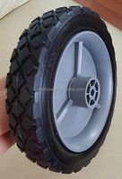 7 inch solid PU foam wheels complete with plastic rim for folding wagon carts