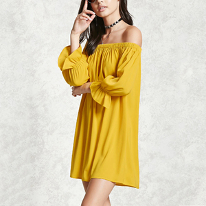 European Latest Design Off Shoulder Sexy Casual Yellow Summer Short Mini Dresses