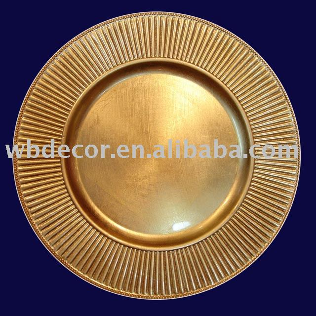 gold plastic charger plate for party