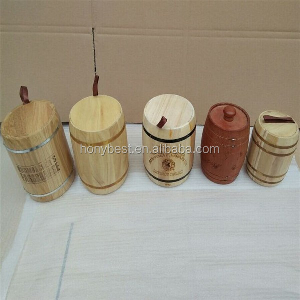 Disposable Wood Keg Barrel Cylinder Packaging Holder Box with Hinged Lid for Tea Tin
