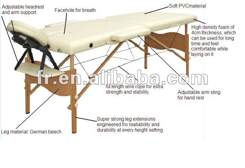 2 section mature wooden massage table for body care