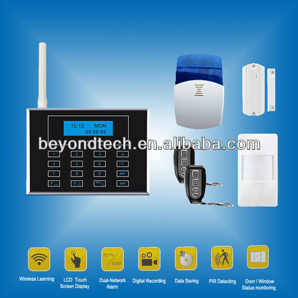 Wireless and Wired Dual Network gsm wireless home burglar security alarm system
