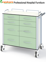 China Supplier Anti-Acid Anti-alkali Hospital Dressing Trolley Cart With 8Drawers