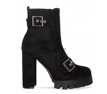 New Fashion Women Classic Chunky High Heel Black Suede Buckle Platform Ankle Boots