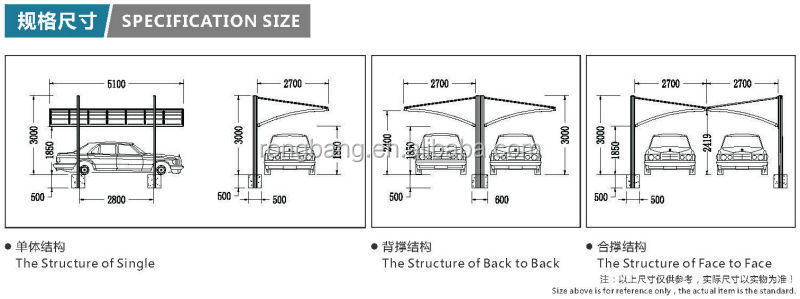 Aluminum double carport with polycarbonate roof cr face for 1 car carport dimensions