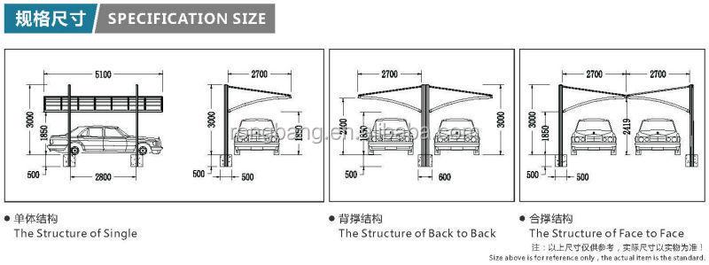 Aluminum double carport with polycarbonate roof cr face for Carport width