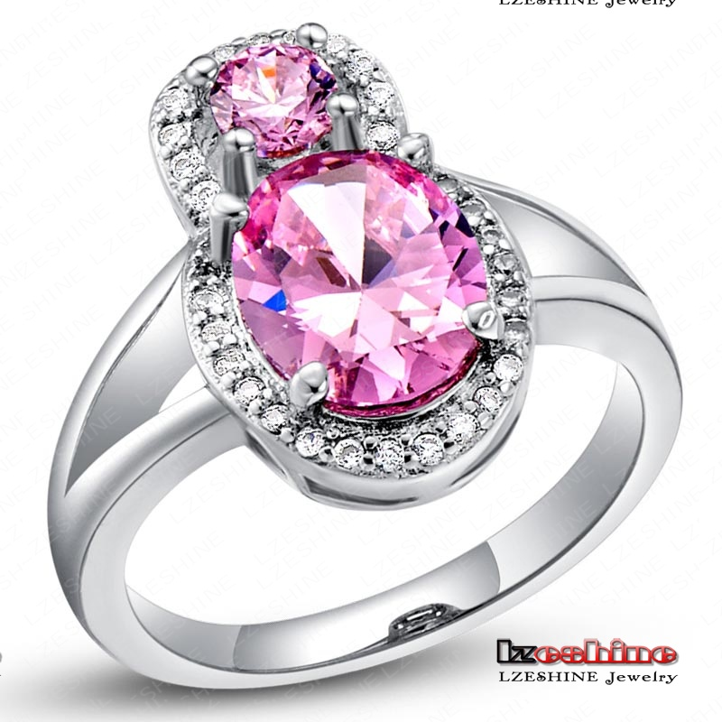 Beautiful Pink Zircon Stone Ring Real Platinum Plated Genuine SWA Elements Austrian Crystal Bride Ring WX-RI0160