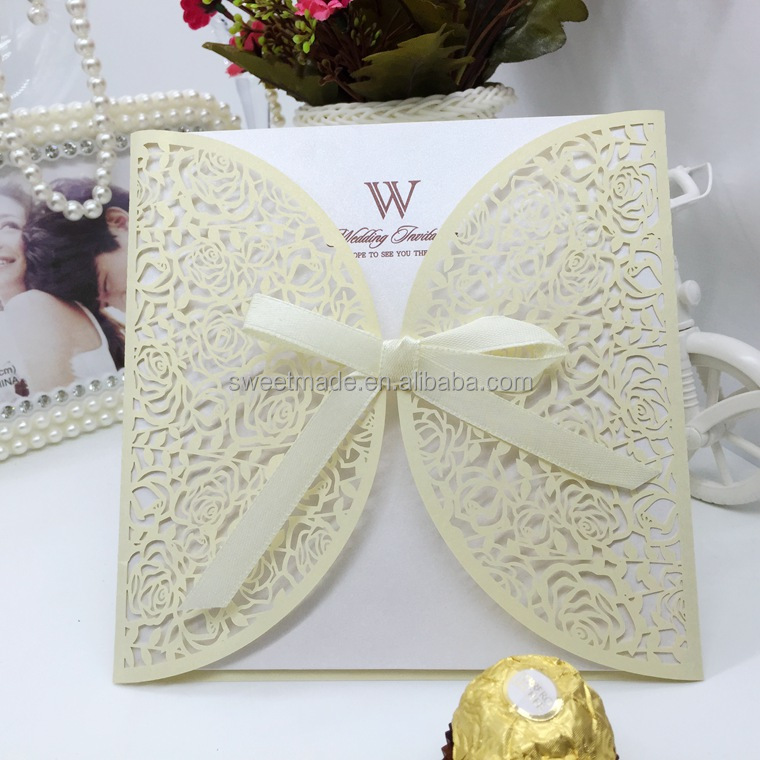 hot selling Classic Ivory roses paper greeting cards laser cutting invitation card