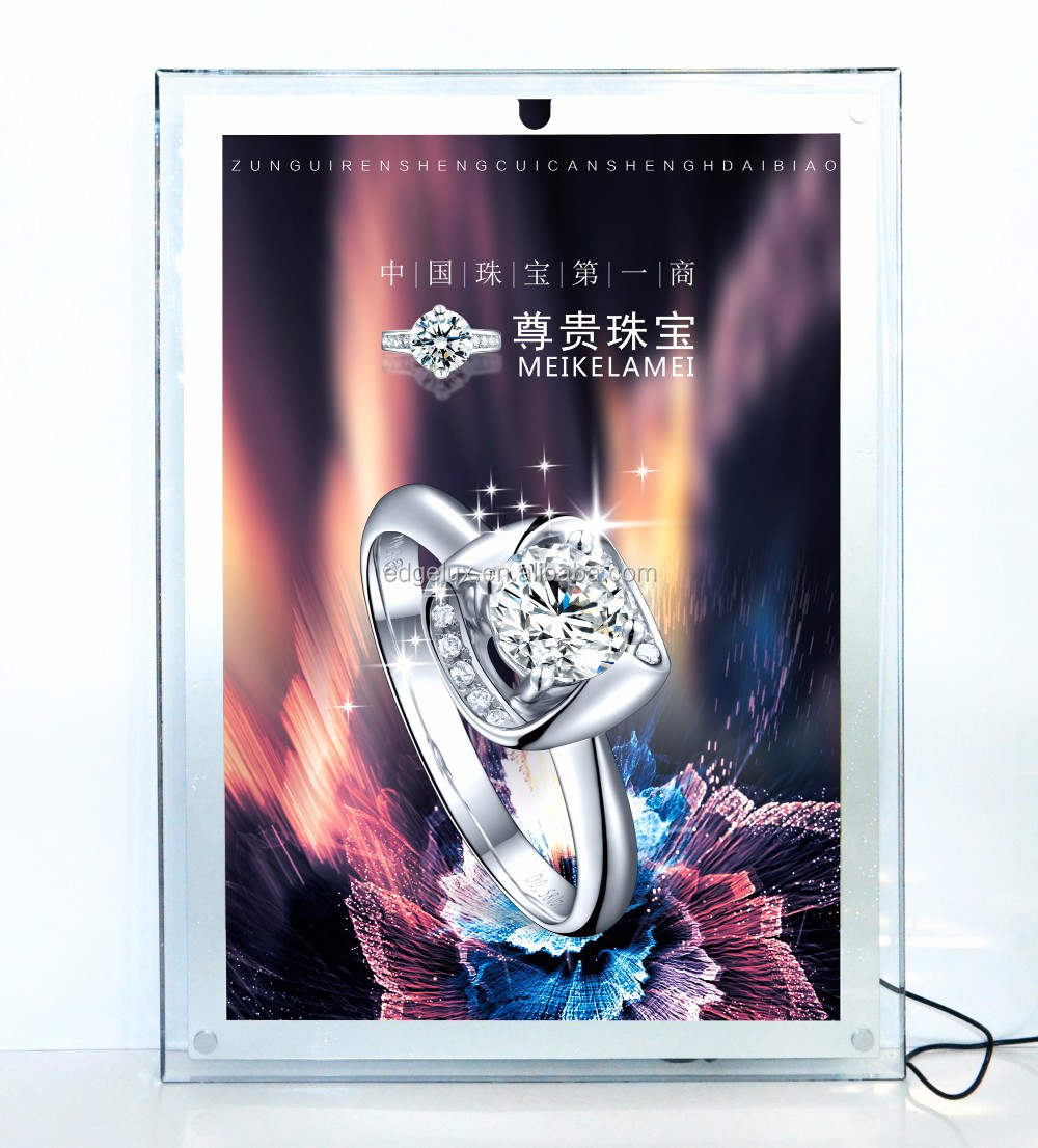 CF1A-A3 led light box <strong>advertising</strong> menucrystal signage acrylic slim hanging light box frame desk standing led billboard