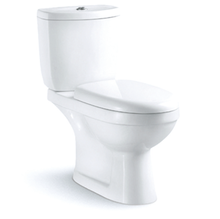 Floor mounted dual flush WC water saving white ceramic bathroom washdown two pieces toilet with slow close seat cover