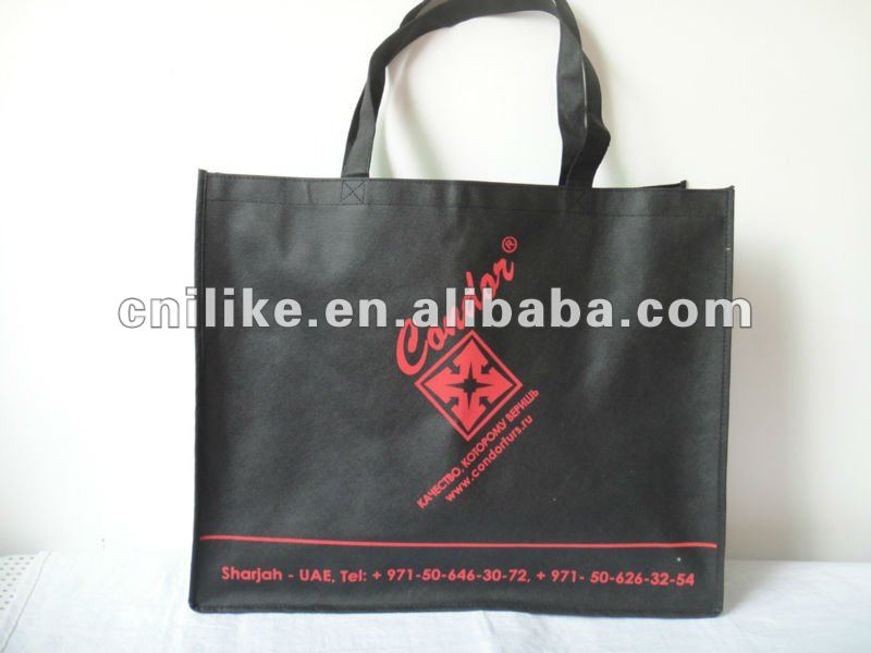 cheap customized Eco black grocery friendly tote non woven bag